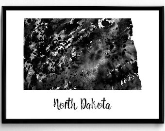 Map of North Dakota, United States of America, Black and White Map, Travel, Watercolor, Room Decor, Poster, gift, Print, Wall Art (767)