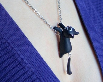 Cat necklace Cat pendant Cat jewelry Clay cats Black cats Cute cats Cat charm Cat lover gift Cats Cat gifts Girlfriend gift Unique gifts