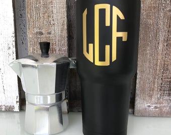 30 oz monogram coffee tumbler, personalized coffee cup, 30oz stainless steel coffee cup, coffee tumbler personalized