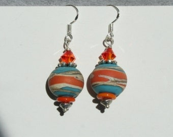 Southwest lampwork bead earrings