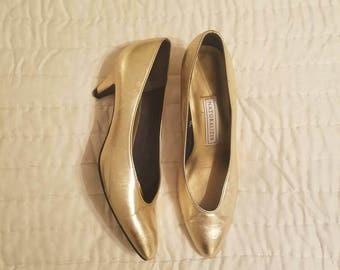 Vintage Metallic Gold Pumps, Gold Heels, Naturalizer, 1980s Heels