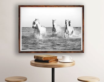 White Horses Print, Horses Running in Water, Horse Wall Art, Beach Decor, Horse Photography Print, Modern Decor, Horse Print, White Horse