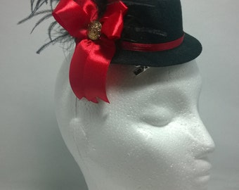 Back with Red Bow Mini Hat Fascinator