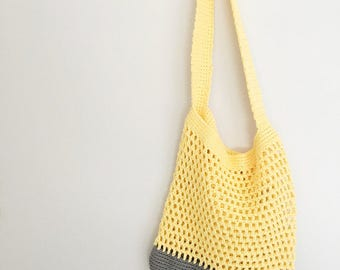 Market / Beach Bag in Yellow and Grey