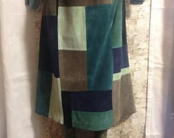 Suede patchwork skirt, boho skirt, mod skirt, retro skirt
