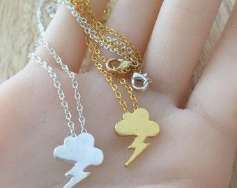 Tiny Cloud Necklace, Lightning Necklace, Gold Cloud Charm, Silver Cloud Pendant, Lightning Charm, Silver  Lightning, Rain Necklace,