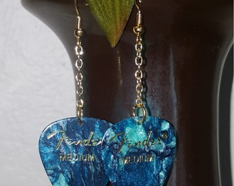 Turquoise guitar pick earrings! Gold chain and hook