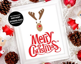 Merry Christmas Digital Print | Instant Download | Instant Printable Wall Art | Home Decor | Word Art | Typography Art