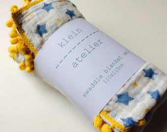 XXL tetra cloth swaddle blanket hydrofieldoek Muslin blanket pompon