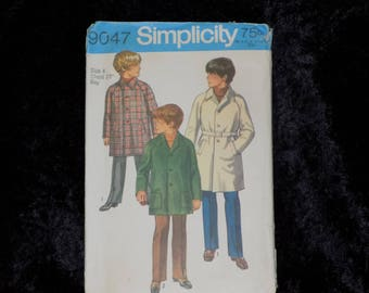 Vintage 1970s Simplicity Pattern #9047 Boys coat in two lengths, Vintage Pattern for Boys Coat, Size 4