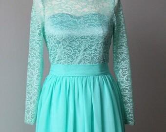 Mint bridesmaid dress Long mint dress Lace mint dress Long dress with sleeves Mint prom dress Mint wedding Lace dress mint long sleeves