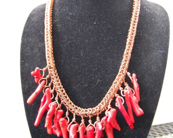 Indian Summer Red Coral Necklace