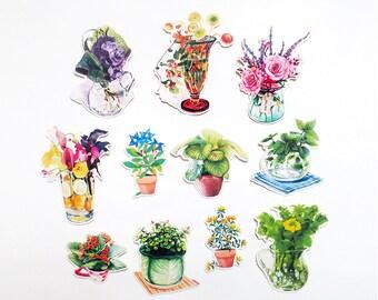 Floral Stickers Pack Series C Flowers Sticker Sack, Planner, Scrapbooking, Plants, Garden