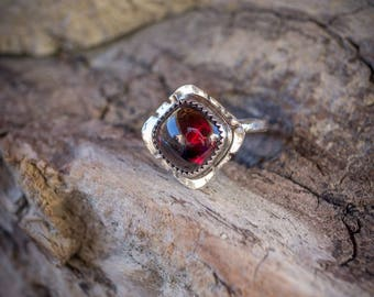 Garnet Silver Ring Size 8.5 / Gifts for Her / January Birthstone Ring / Handmade Bohemian Jewelry / Garnet Ring / Sterling Silver Jewelry