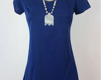 60s Mod Super Mini Dress. Shirt Dress.  Blue. Byer California. Festival. Size S.