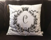 Laurel Wreath Monogram Throw Pillow Cover
