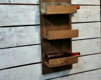 SALE Wooden Wine Rack-Rustic Wine Holder-Reclaimed Wine Organizer-Wine Rack Wall Hanger