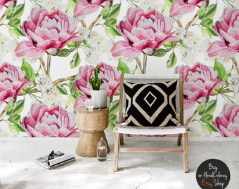 Pink watercolor peonies wallpaper || Beautiful floral wall mural || Colorful flowers with leaves wall decal || Reusable #88