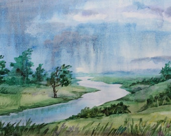 "ORIGINAL Watercolor painting, watercolor landscape painting, Original art, Summer landscape, Rain 10 1/2""x7"" A4"