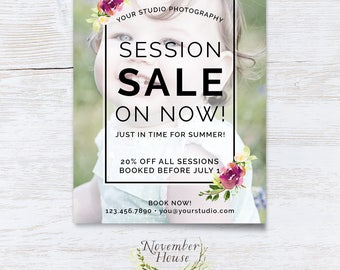 Photography Session Sale, Photoshop Template, Marketing Board, 5x7 Flat Card, Photography Marketing, Watercolor Flowers, Instant Download