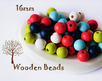 16mm Wooden Beads - Wooden Beads Pack - Random Beads - Wooden Beads - Rainbow