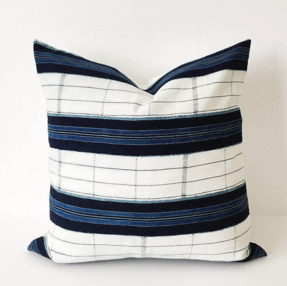 20 x 20 Indigo and White Stripe Pillow