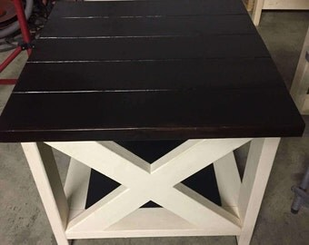 Rustic X End Tables Set of Two Stain Inlays