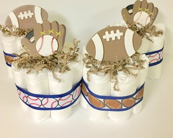 Set of 4 Baseball and Football Mini Diaper Cakes for a Sport Themed Baby Shower. Baby Shower Gift or Centerpiece. Decorations. Welcome Gift.