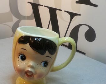 Kitsch Vintage Napco Miss Cutie Pie  hand-painted ceramic Japan mug   FREE SHIPPING