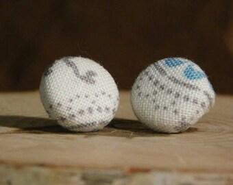 """Fabric Button Earrings, Button Earrings, Button Studs, Fabric Button Studs, Fabric Earrings, Button, Studs, Earrings, 1/2"""", 5/8"""""""