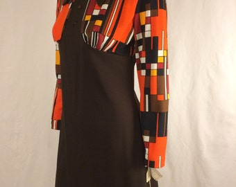 Vintage 1970s Brown Dress with Orange, Brown, White, and Black Colour Block Print Dead-stock with Original Sale Tags Size 14