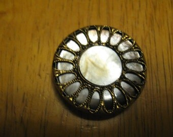 Vintage button one inche Button - Mother of Pearl Shell Set in Brass Border               free shipping in u s a