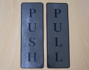 """Push and Pull Front Door Sign Laser Engraved Sticker Silver & Gold - Silver Brushed Set 2"""" wide x 6"""" High / 5cm x 15cm"""