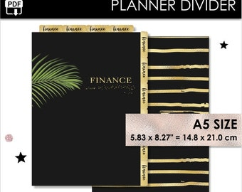 Finance A5 Size Planner Divider Gold Filofax A5 Websters Pages A5 Kikki K Large Inserts Black Tropical Golden Tabs Pdf Download PRINTABLE
