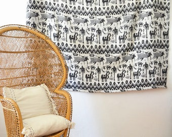 Reversible Moroccan ceiling cotton in black - white 175 x 160 cm
