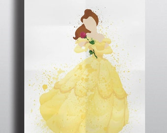 Disney Princess Poster Print - Belle | A2 Size-Resizable | Watercolour Art | Digital Download | Beauty & the Beast | Watercolour painting