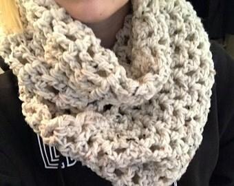 Beige Crocheted Infinity Scarf