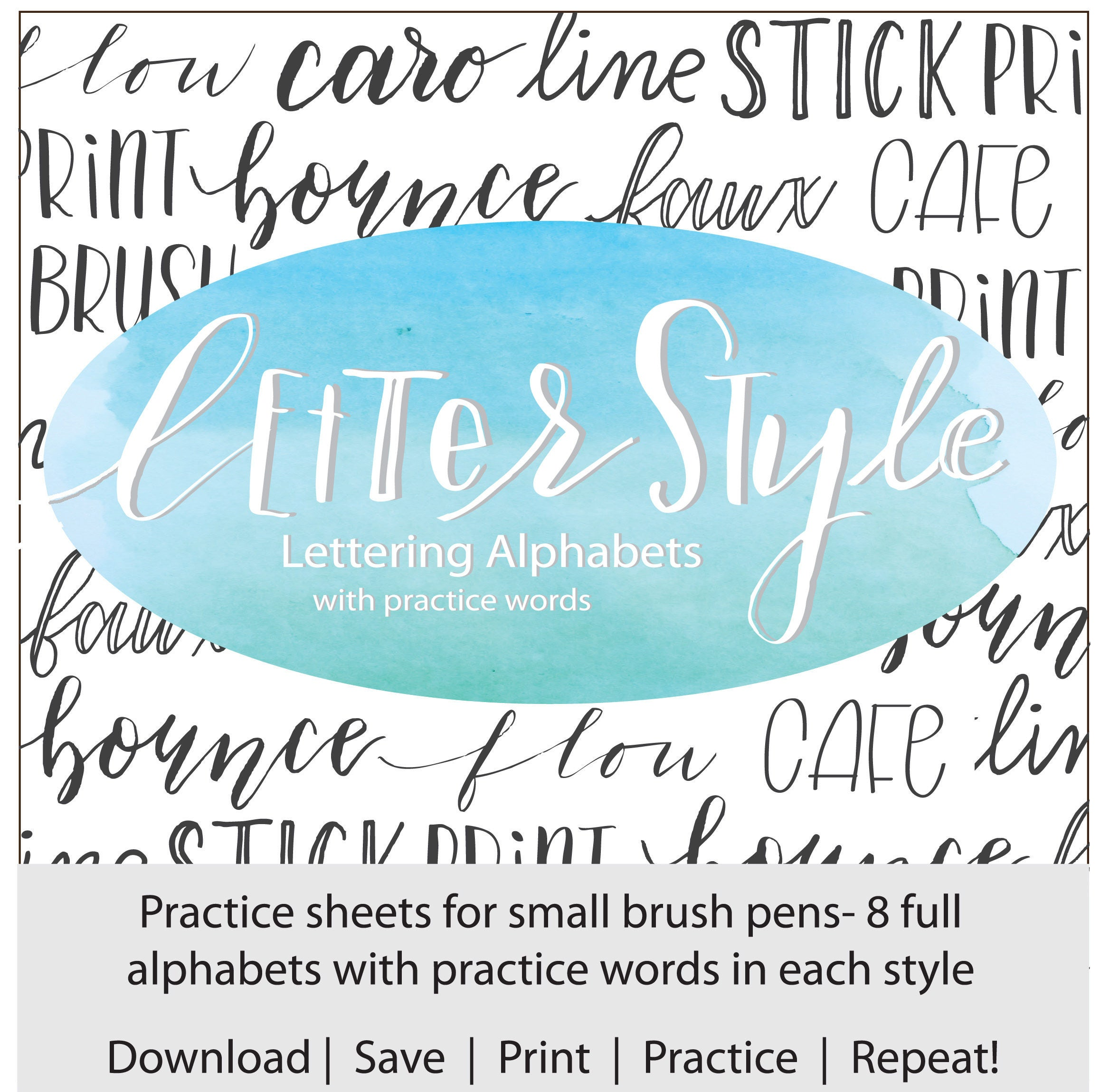 Letter style lettering alphabets with practice words