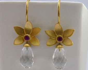 Gold earrings 18ct flower shape, mountain crystal drop, rubies, goldsmith work, handmade, item, gifts for you, birthday