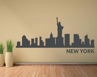 New York Skyline Wall Decal NYC Skyline City Silhouette Wall Decal Statue Of Liberty Home Offiice College Dorm Living Room Home Decor 057