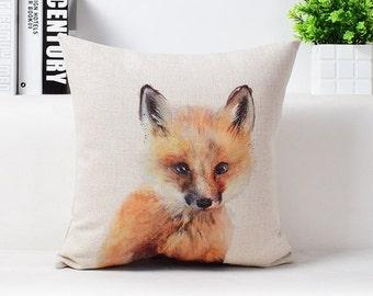 "Cotton Linen Decorative Pillow case 18"" Baby Fox"