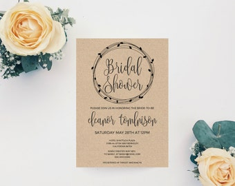 Bridal Shower Invitation Template, Bridal Shower Wedding Printable, Wedding Shower Invitation, Rustic Bridal Shower Invitation Template, PDF