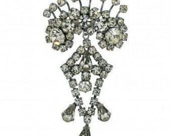 1960s Rhinestone Diamante Silver Tone Vintage Peacock Brooch