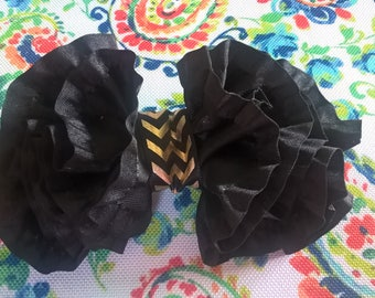 Black Bow with Gold on a Barrette
