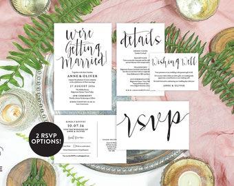 Rustic wedding invitation set, Rustic wedding invitation template download, Editable invitation, Printable wedding stationery set
