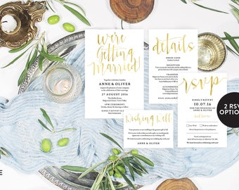 Gold wedding invitation template download, Editable pdf, Instant download, Gold invitations, Printable wedding stationery, Wedding details