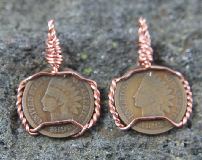 Vintage Indian Head Wheat Penny Pendant | Years 1892 and 1893 sold individually | US Currency Coin Jewelry | Copper Wire Wrap Necklace Charm