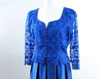 JFW Royal Blue Evening Jacket and Skirt/Lace Buttoned Jacket/Satin Maxi Skirt/Vintage Evening Wear/Retro Evening Wear /Size UK 16