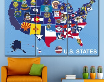 Blue Map Etsy - Us map with state flags