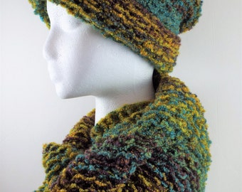 Hat and Scarf Set, Women Scarf and  Hat Set, Cowl Scarf, Winter Set, Warm Scarf And Hat, Chunky Knit Hat and Scarf Set, Knitted Hat & Scarf
